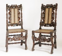 Lot 124 - A pair of 17th century-style oak single chairs