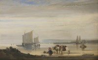 Lot 116 - Circle of Nicholas Condy (1793-1857) A SHORE SCENE WITH FIGURES AND BEACHED VESSELS Oil on panel 33 x 40cm