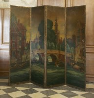Lot 12 - A four-panel folding leather screen