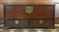 Lot 13 - A Portuguese colonial mahogany and ebonised banded chest