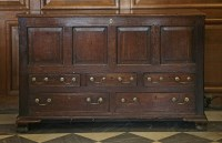 Lot 14 - A four-panel oak mule chest