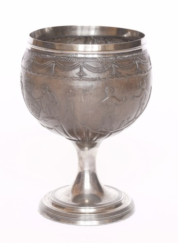 Lot 81-A silver-mounted stemmed coconut cup