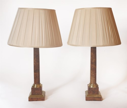Lot 82 - A pair of cylindrical pedestal table lamps