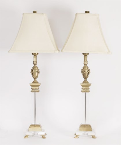 Lot 96 - A pair of glass and cast brass electric table lamps