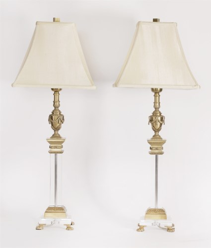 Lot 97 - A pair of glass and cast brass electric table lamps