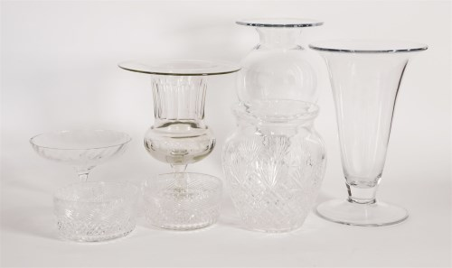 Lot 99 - A pair of cut-glass cylindrical bowls