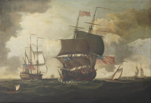 Lot 91 - ... Barry (18th century) AN ENGLISH FLAGSHIP WITH OTHER SHIPPING Indistinctly signed l.l.