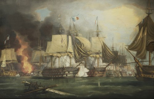90 - George Chambers (1803-1840) THE BATTLE OF TRAFALGAR Signed and dated 1839 l.r.