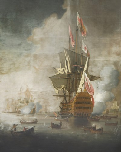 Lot 88-Peter Monamy (1681-1749) A ROYAL YACHT APPROACHING A FLAGSHIP OF THE RED Oil on canvas 148 x 130cm   Provenance:  Sotheby's London