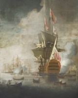Lot 88 - Peter Monamy (1681-1749) A ROYAL YACHT APPROACHING A FLAGSHIP OF THE RED Oil on canvas 148 x 130cm   Provenance:  Sotheby's London
