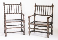 Lot 170 - Two similar bobbin turned elbow chairs