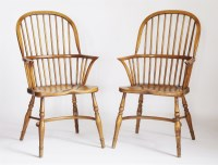 Lot 174 - A pair of elm and ash high back Windsor chairs