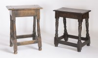 Lot 175 - Two oak joined stools