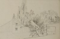 Lot 150 - Jean Claude Nattes (1765-1822) A TELESCOPE IN THE GARDEN AT NORTH MYMMS Pencil