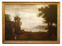 Lot 179 - John Wootton (1682-1764) A COASTAL LANDSCAPE AT SUNSET