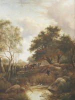 Lot 178 - Joseph Thors (1835-1898) A WOODED LANDSCAPE WITH A TIMBER WAGON