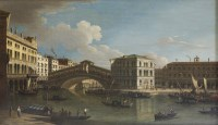 Lot 115 - Manner of Canaletto THE GRAND CANAL AND THE RIALTO Oil on canvas 61 x 101cm