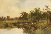 Lot 7 - Henry H Parker (1858-1930) A RIVER LANDSCAPE WITH CATTLE WATERING AND HAYMAKERS IN THE DISTANCE Signed l.r.