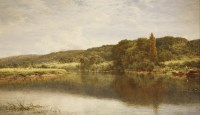 Lot 22 - Benjamin Williams Leader RA (1831-1923) THE THAMES AT STREATLEY Signed and dated 1903 l.l.