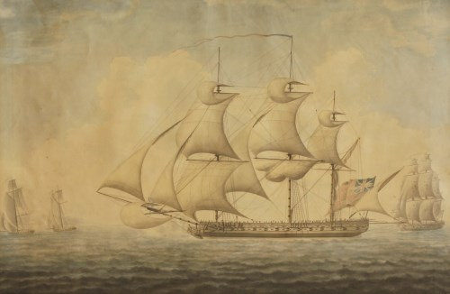 Lot 70 - John Buckler (1770-1851) A MERCHANTMAN AND OTHER SHIPPING OFF THE COAST Signed and dated 1797 l.r.