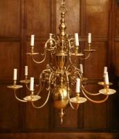 Lot 141 - A modern brass twelve-branch hanging electrolier