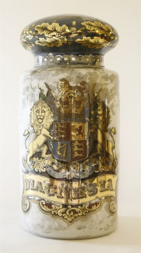 Lot 27 - A large glass apothecary's display jar and cover