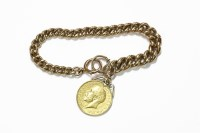 Lot 1012-A gold graduated hollow curb link bracelet with hard soldered bale sovereign