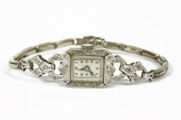Lot 1000-An Art Deco ladies diamond set mechanical cocktail watch