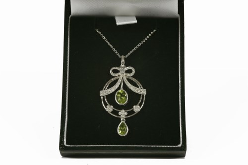 Lot 1013-A 9ct white gold Art Nouveau style pendant