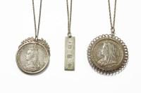 Lot 1033-A silver ingot on chain