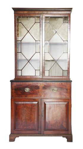 Lot 66 - A George lll mahogany secretaire bookcase