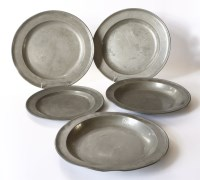 Lot 40 - A pair of pewter dishes and a charger