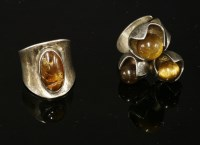 Lot 1032A-A sterling silver Finnish three stone tiger's eye ring by Solovair Turku (1950 -1988)