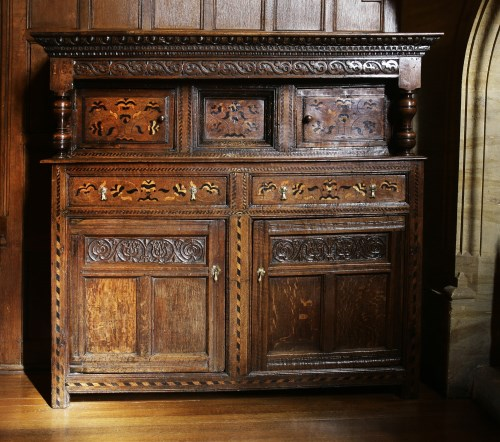 Lot 48 - An inlaid oak buffet. 17th century and later