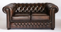 Lot 52 - A pair of modern brown leather two-seat chesterfield settees