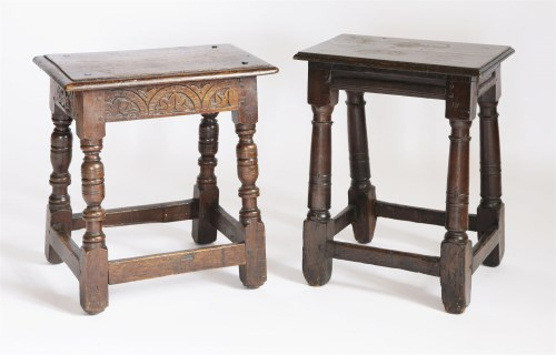 Lot 55 - Two oak joined stools