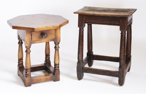 Lot 56 - An oak joined stool
