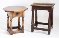 Lot 56 - An oak joined stool