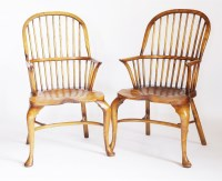 Lot 58 - A pair of modern elm and ash high back Windsor chairs