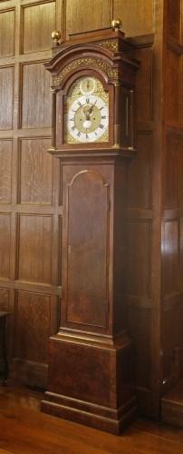 Lot 44 - A burr walnut longcase clock