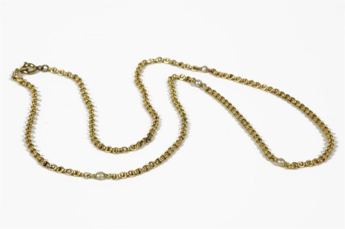 Lot 1004-A gold double belcher chain necklace interspersed with pearls (pearls untested) 8.29g