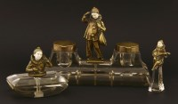 Lot 8-A bronze and ivory desk set
