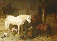 Lot 17-John Frederick Herring Snr (1795-1865)  STABLE COMPANIONS  Stretcher stamped with artist's initials