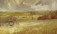Lot 2-*Michael Lyne (1912-1989)  HUNTSMAN AND HOUNDS  Signed and dated '1947' l.r.