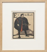 Lot 42-William Nicholson (1872-1949) E IS FOR EARL; H IS FOR HUNTSMAN; R IS FOR ROBBER; T IS FOR TRUMPETER Original lithographs from 'An Alphabet'