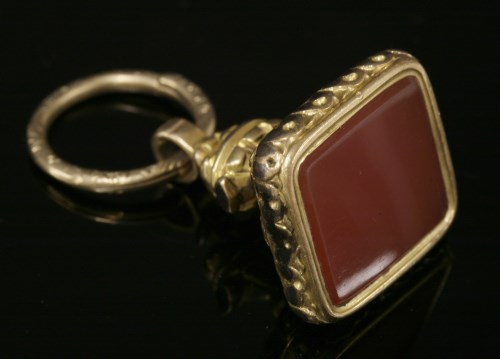Lot 23-A gold cased cornelian seal