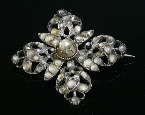 Lot 9-A Georgian jargoon or colourless zircon quatrefoil brooch