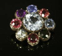 Lot 8-A late Georgian harlequin gem set cluster brooch