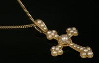 Lot 96 - A Victorian split pearl and diamond set Latin form Bottony cross and chain