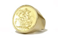 Lot 38 - A 9ct gold sovereign ring with coin dated 1902